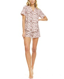 Mary Button Front Top & Shorts Pajama Set