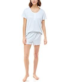 Ribbed Lettuce-Trim Shorts Loungewear Set