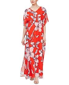 Smocked Floral Kaftan Maxi Dress
