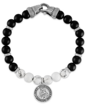 Onyx & Howlite St. Christopher Medallion Bracelet in Sterling Silver