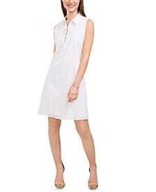 Eyelet O-Ring Zip-Front Sleeveless Dress