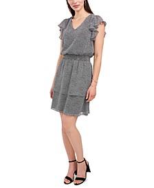 Printed V-Neck Flutter-Sleeve Smocked-Waist Dress