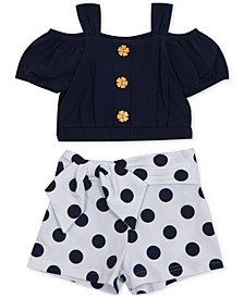 Baby Girls 2-Pc. Cold-Shoulder Top & Dot-Print Shorts Set