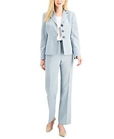 Petite Three-Button Glazed Melange Pantsuit