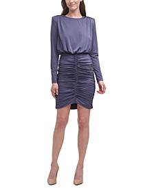 Shirred Blouson Bodycon Dress