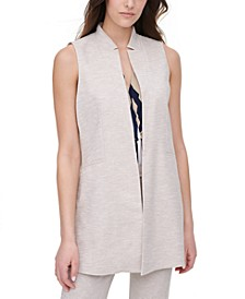Notched-Collar Twill Vest