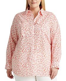 Plus Size Linen Patch-Pocket Shirt