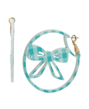 Gingham Bow Hoop Earrings