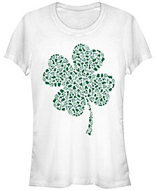 Juniors Disney Mickey Classic Shamrock Fill Cowl Neck T-shirt