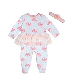 Baby Girls Footed Coverall Set with Headband, 2 Piece