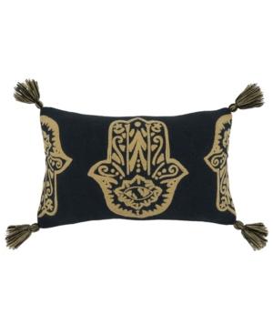 "Saro Lifestyle Pillows EMBROIDERED LUMBAR THROW PILLOW, 20"" X 12"""