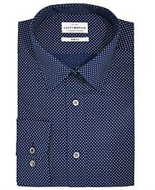 Men's Slim-Fit Moisture-Wicking Dot-Print Dress Shirt