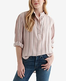 Striped Half-Button Blouse
