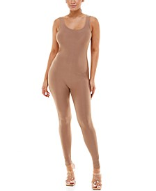 Juniors' Sleeveless Fitted Jumpsuit