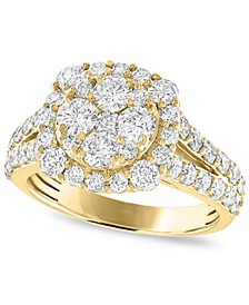 Diamond Cluster Engagement Ring (2 ct. t.w.) in 14k White or Yellow Gold