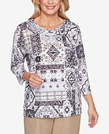 Women's Missy Classics Medallion Patch Print Top