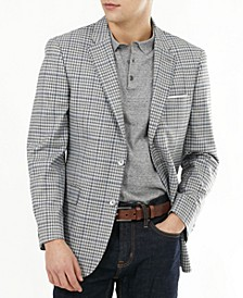 Men's Slim-Fit Gray & Blue Check Blazer