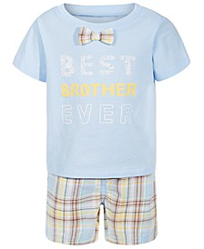 Baby Boys Graphic T-Shirt & Plaid Shorts Separates, Created for Macy's