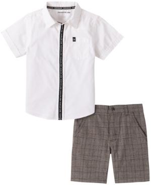 Calvin Klein LITTLE BOYS 2-PIECE SHORT SLEEVE COTTON POPLIN SHIRT AND PLAID SHORTS SET