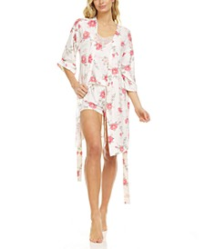 Livia Ivory Wrap Robe, Cami & Tap Shorts Travel Pajama Set