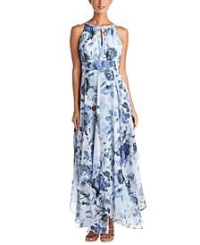 Petite Floral-Print Chiffon Gown