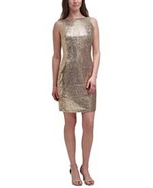 Sequinned Cowl-Back Sheath Dress