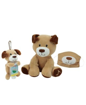 Animal Adventure WelloBeez Musical Clean Crew Plush Dog and Plush Keychain with Empty, Refillable Sanitizer Bottle and Child's Face Mask