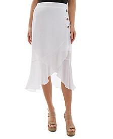Juniors' Asymmetrical Ruffle-Hem Skirt