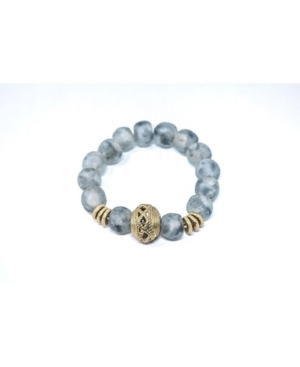 Sophisticated and Unique Swirled Recycled Glass Beads Stretch Bracelet