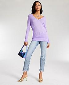Sandra Dropped-Shoulder V-Neck Ribbed-Hem Sweater