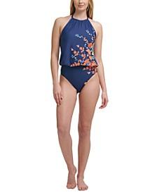 High-Neck Blouson One-Piece Swimsuit