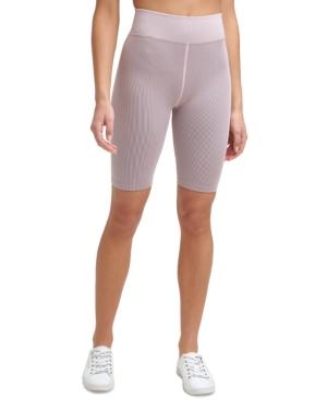 Calvin Klein Performance Ribbed High-waist Bike Shorts In Med Pink