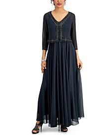 Embellished Chiffon Jacket & Dress Set