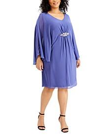 Plus Size Embellished Cape-Sleeve Dress