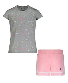Toddler Girls All Over Print Tee And Woven Short, 2 Piece Set