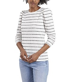 Petite Long Sleeve Puff Shoulder Smocked Knit Striped Top