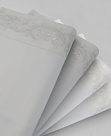 Barons Court Embroidery Cotton 4 Piece Sheet Set