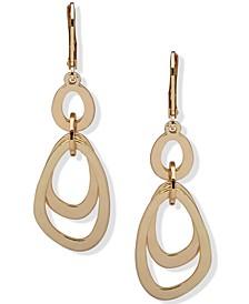 Gold-Tone Open Oval Double Drop Earrings