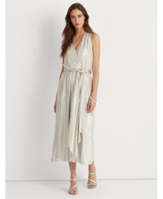 로렌 랄프로렌 Lauren Ralph Lauren Metallic Halter Dress,Twilight Royal/blue/multi