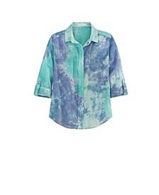Women's Button Up Tie Dye Shirt