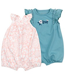 Baby Girls Sleeveless Romper with Bunny Floral Print, 2 Pack
