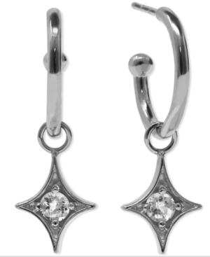 Jac + Jo By Anzie Gothic Star Charm Hoops Set With White Topaz In Sterling Silver In Clear