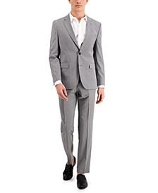 HUGO Men's Grey Textured Modern-Fit Wool Suit Separates