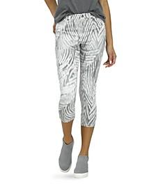 Grey Zebra Denim High Rise Capri Leggings