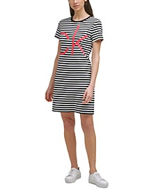 Cotton Striped Graphic T-Shirt Dress