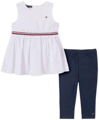 Little Girls 2-Piece Self-Textured Tunic and Capri Leggings Set
