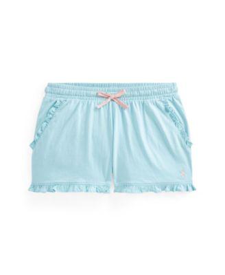 폴로 랄프로렌 여아용 반바지 Polo Ralph Lauren Toddler Girls Ruffled Jersey Shorts,Turquoise Cloud