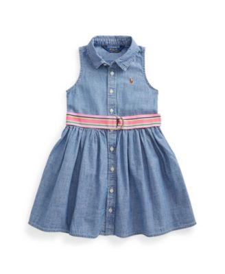 폴로 랄프로렌 Polo Ralph Lauren Little Girls Indigo Chambray Shirt Dress