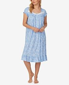 Printed Ruffle-Trim Waltz Nightgown