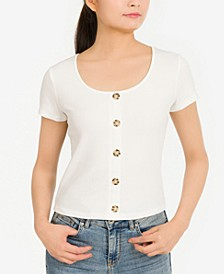 Juniors' Rib-Knit Button-Trimmed Top